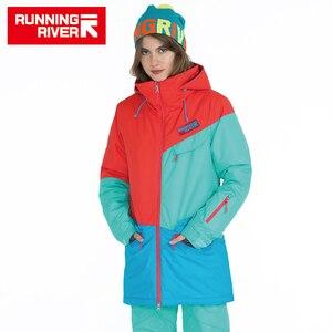 Image 3 - ランニング川ブランド女性スノーボードジャケット用冬暖かい半ば太もも屋外スポーツ服高品質スポーツジャケット# A6042