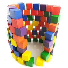 100pcs 2cm children's color early education building blocks creative parent-child children enlightenment learning toy blocks wooden block colorful blocks education wood building and 48pcs chopping blocks for child learning shape