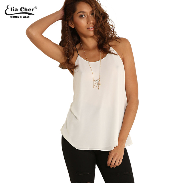 0a4d1a56baf White Camis Women Summer Chiffon Strap Tops Plus Size Female Clothing chic  elegant fashion Ladies Tops