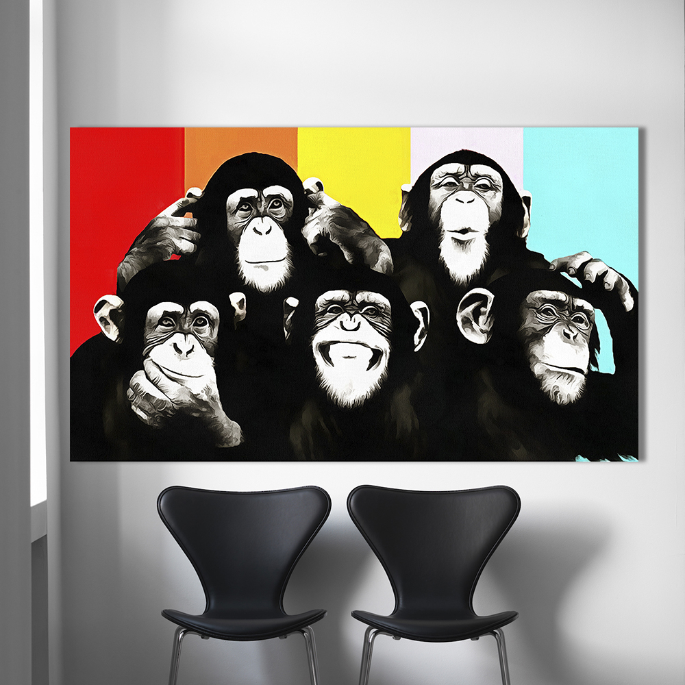 HDARTISAN Animale Tela Arte Pittura A Olio Pop Art Divertente Scimpanzé Immagini Muro For Living Room Home Decor Stampato Frameless