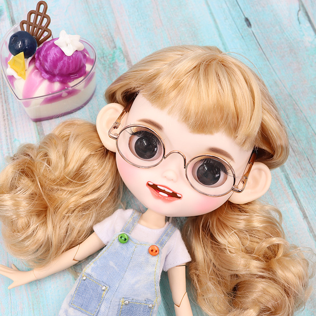 ICY blyth doll matte face white skin golden long curly hair suit doll with teeth lips eyebrows 30cm DIY BJD SD gift