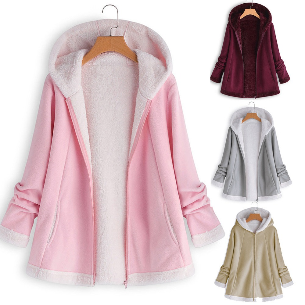 5df2db453 US $16.18 37% OFF|Plus size Fashion New Ladies Winter Curved Hem Longline  Faux Fur Sherpa Fleece Hoodie Coat women coats and jackets-in Trench from  ...