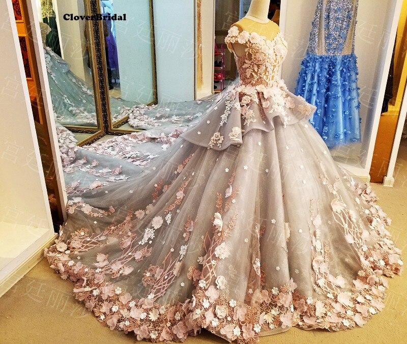 3350caa3 Brillante humo gris encaje flores tul capilla tren boda vestidos ...