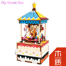 2017 New  Lover Gift Diy A Doll's House Miniature Furniture House Toys for Children Wooden Box Toys Puppenhaus JHZQW070-04