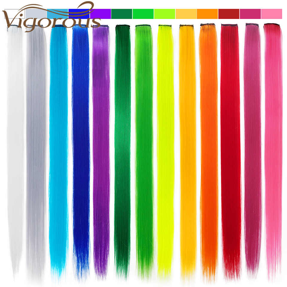 Энергичный 1 зажим для наращивания волос чистый цвет 20 дюймов синтетический длинный прямой серый Красный Наращивание волос термостойкий
