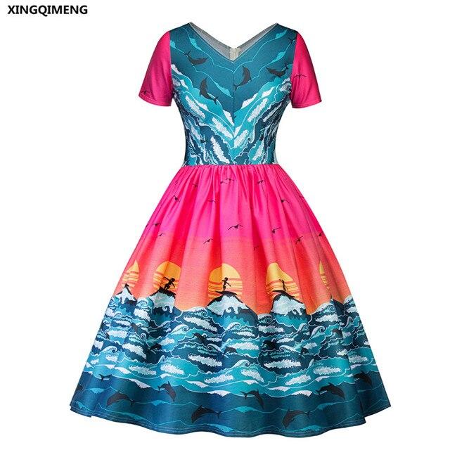 In Stock Seascape Print Cocktail Dresses Short Sleeve Elegant