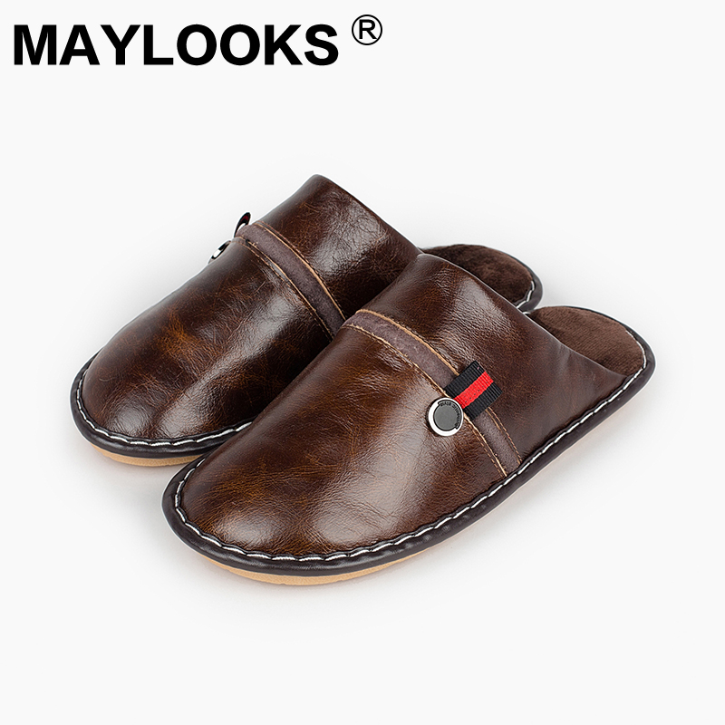 Men 's Slippers Winter genuine Leather Home Indoor Non - Slip Thermal Slippers 2018 New Hot Maylooks tb012 201818 men s slippers tott