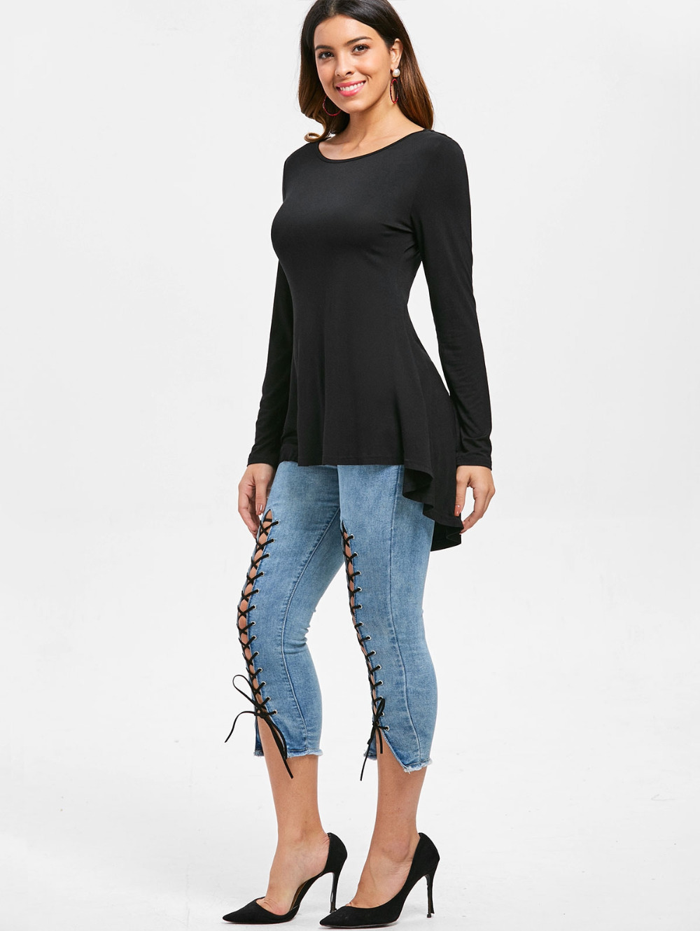 Black O-neck Cut Out Stud Embellished High Low T-shirt Women Long-sleeve Tops Fashion Ladies Loose T Shirt Basic Clothes
