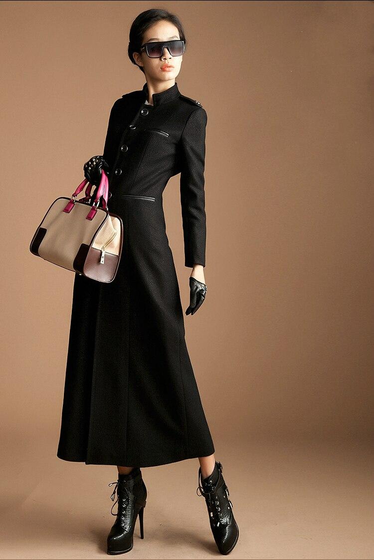 ac4569f8d0a Winter Long Wool Black Basic Coats For Womens Mandarin Collar ...