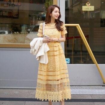 Vestido de Encaje Amarillo Romance francés, con dobladillo de onda de encaje, flor hueca, manga corta, Delgado, medio-largo, Vestido de fiesta