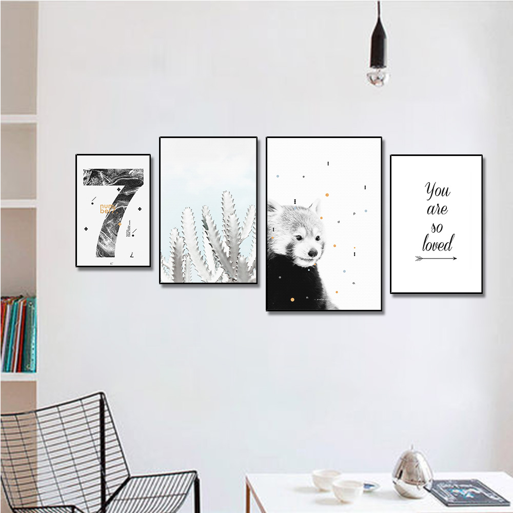 Unframed Multiple Pieces HD Canvas Painting Cartoon Bear And Cactus For Decorative Paintings Living Room Mural Free Shipping