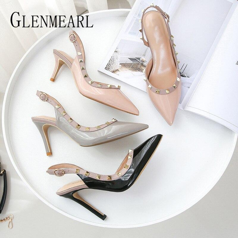 Women Party Shoes High Heels Spring Rivet Pumps Woman Pointed Toe Slip On Thin Heels Female Dress Back Strap Shoes Plus Size DE