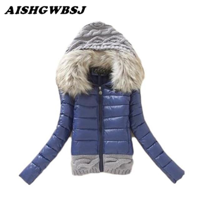 2018 Yeni Kış Kadın Pamuk Ceket Kalın Hood Coat Kısa Tasarım Wadded Kadın Parkas artı boyutu Kürk Yaka Palto LG222