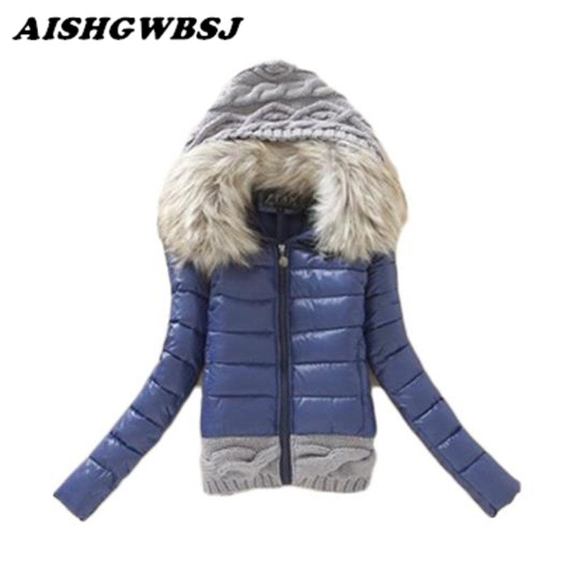 2019 New Winter Women Cotton Jacket Thick Hood Coat Short Design Wadded Female   Parkas   plus size Fur Collar Overcoat LG222