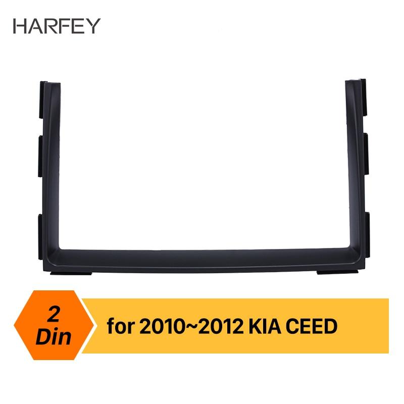 Harfey 2 Din Car Radio Fascia DVD Gps Decorative Frame for 2010 2011 2012 KIA CEED Dash Mount Surround Panel Trim Kit fitting