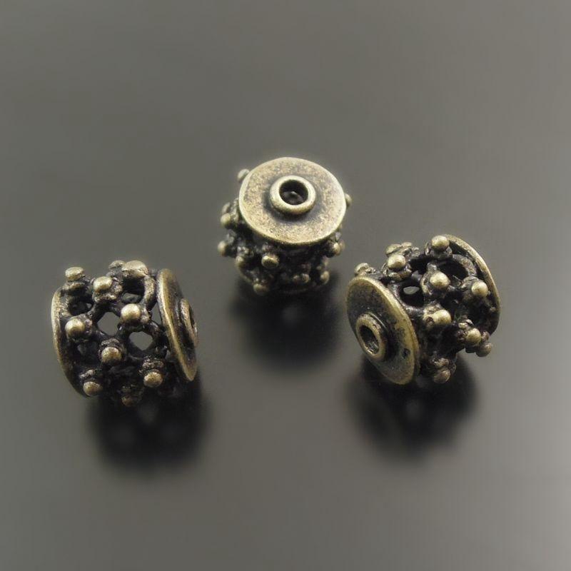 (10Pieces) Wholesale Antique Bronze Tone Beads Brass Hollow Accessories Bracelet Charms Necklace Pendant Jewelry Findings 38011
