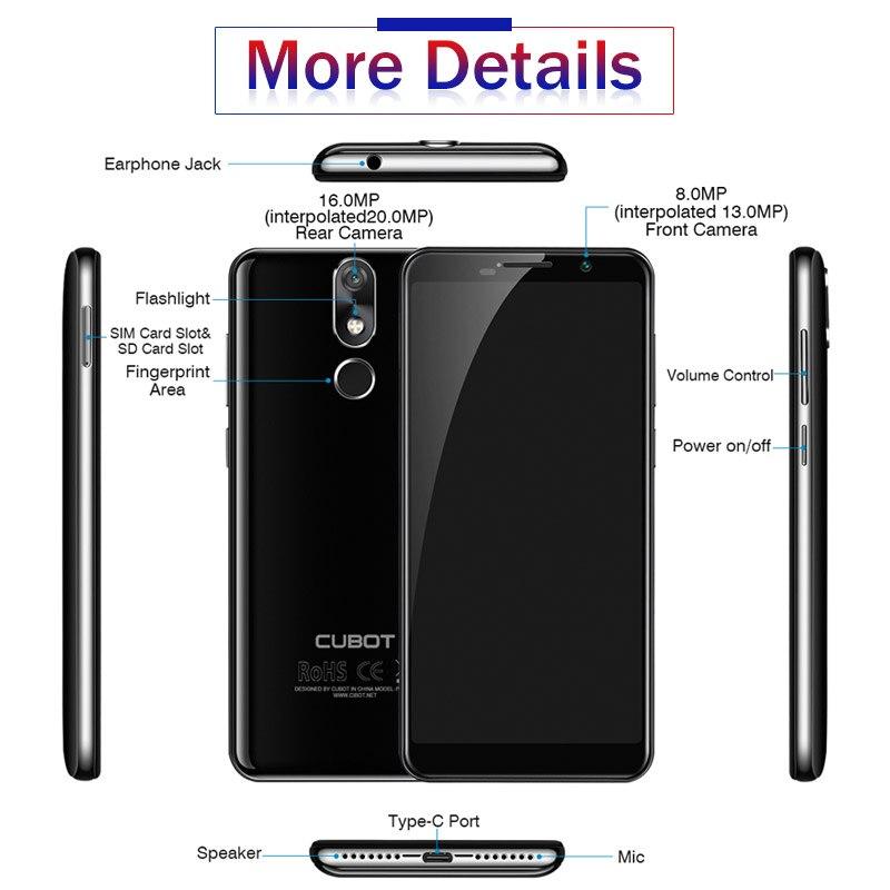 Cubot Power Android 8.1 Helio P23 Octa Core 6000mAh 6GB RAM 128GB ROM 5,99 Zoll FHD + 6P objektiv Smartphone 20.0MP Celular 4G LTE