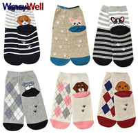 WmcyWell 6 Pairs Fashion Cute Womens Girls Cartoon Style Animal Warm Short Ankle Socks Colorful Funny Casual Cotton Crew Socks