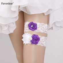Favordear White Lace Three Colourful Flowers Wedding Garter for Wemen 2 PC Elastic Band Beading Bridal Garter Belt Stockings(China)