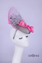 2019 silver pink sinamay fascinator feather headpiece Kentucky Derby wedding races bridal shower mother of the bride w/feather