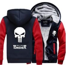Hot Sale 2018 new winter thicken men sweatshirts Anime skull The Punisher jacket for men fleece men's hooded brand clothing