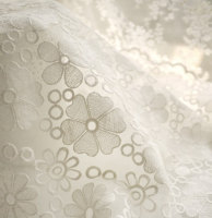 off White Organza Lace Fabric, Embroidered Lace Fabric, Birdal Dress Scollaped Lace Fabric 5yards