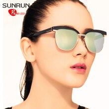 SUNRUN Mujeres TR90 Gafas de Diseño de gafas de Sol Polarizadas gafas de Sol UV400 de La Vendimia gafas de sol oculos TR6017