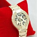 Leopardo luxo Senhora Relógios De Ouro Das Mulheres relógios de Pulso de Aço Inoxidável Completa Magia Mulher Pulseira Relógio Relógio de Senhoras do Relógio de Pulso Feminino
