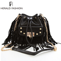 Herald Fashion PU Leather Women Tassel Bag Punk Rivet Women Shoulder   Bag Fringe Chain Women Messenger Bags Women Bag Bolsas