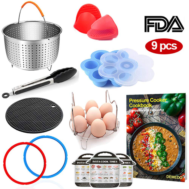 9PCS Pressure Cooker Accessories Set 3 Quart Instant Pot Accessories Eggs Racks 304 Stainless Steel Steamer Basket Kitchen Set