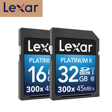 100% 오리지널 lexar 플래시 sd 카드 300x16 gb 32 gb sdhc 45 메가바이트/초 카다로그 드 메모리 클래스 10 u1 USH I 메모리 카드 (카메라 카드 용)