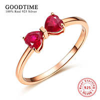 Personalized Ring Pure Sterling Silver Jewelry Bowknot Rose Gold Anniversary Ring Silver 925 Ruby Rings For