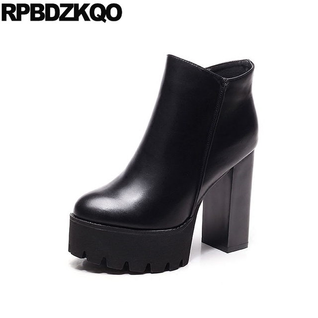 Waterproof European Women Boots Winter 2017 Booties Ankle Round Toe Black High  Heel Sexy Shoes Chunky Thick Platform Ladies Fur 8ff0063a18a1