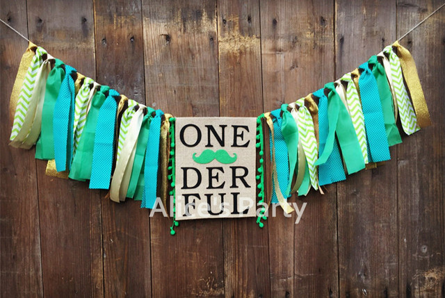 New Boy 1st Jungle Woodland Theme Birthday Party Garland Bunting Green Mustache Beard Gold ONEDERFUL Highchair