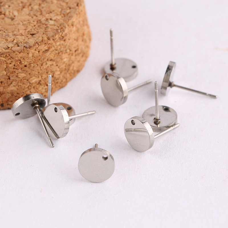 Reidgaller 20pcs Stainless Steel Stud Earring Connectors For Jewelry Making Diy Blank Post Earrings Findings
