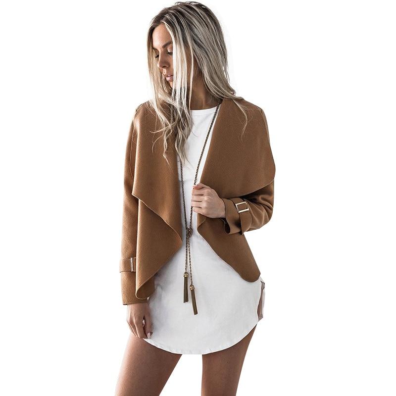 Новые модные женские туфли пальто кардиган Открыть стежка отложной воротник куртка верхняя одежда женская одежда