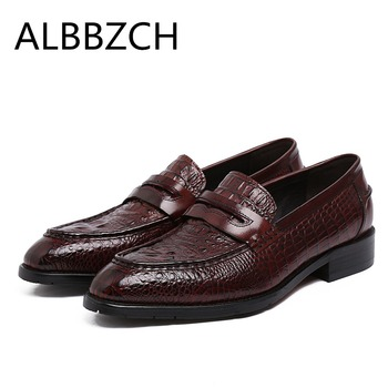 New genuine leather men shoes wedding dress shoes crocodile pattern pointed toe slip on mens luxury work shoes plus size 37 44