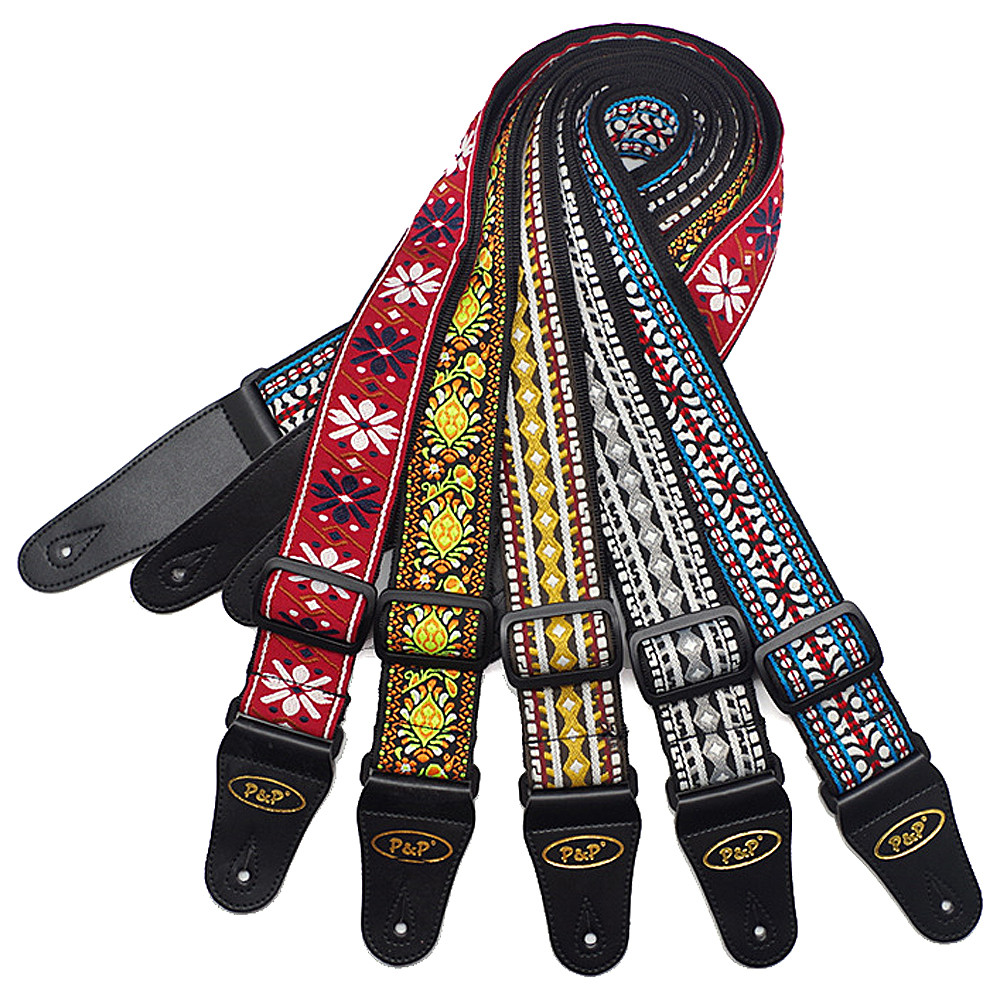 Vintage Guitar Strap Belt Musical Instrument Accessories with Woven Embroidery Fabrics for Acoustic Folk Electric Guitar Bass
