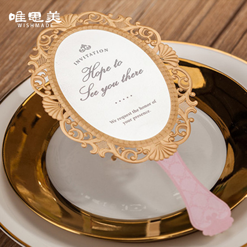 Wishmade 30pcs/lot Pink Magic Mirror Laser Cut Wedding ...