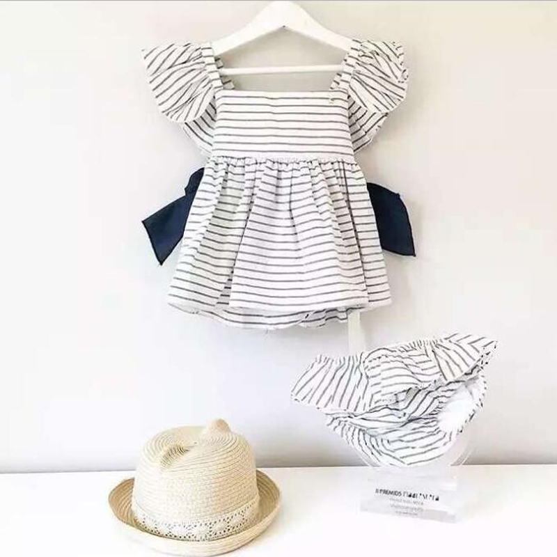New-2017-Summer-Baby-Girls-Clothing-Sets-Fashion-Big-Bowknot-Striped-Dresses-Shorts-2pcslot-Girls-Clothes-Brand-Kids-Suits-3