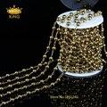 5 М/лот DIY 4 мм Проволокой Завернутые Бисером Четки Цепи Гладкий Круглый Золотой Гематит Бисер для Браслета Ожерелья HX048