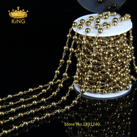 5Meter Lot DIY 4mm Wire Wrapped Beaded Rosary Chain Smooth Round Gold Hematite Beads For Necklace