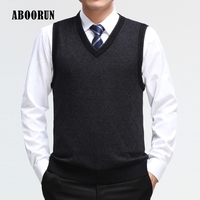ABOORUN Mens Spring Autumn V Neck Plaid Wool Vest High Quality Casual Computer Knitted Tops For