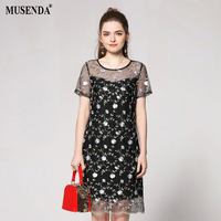 MUSENDA Plus Size Women Black Embroidery Mesh Lining Dress 2018 Summer Sundress Female Casual Beach Dresses