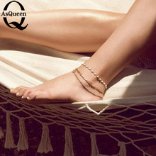 2017 Fashion Women's multi Layers Ankle Bracelet Chain Link Foot Beads Sandal Beach Anklet Jewelry For Female