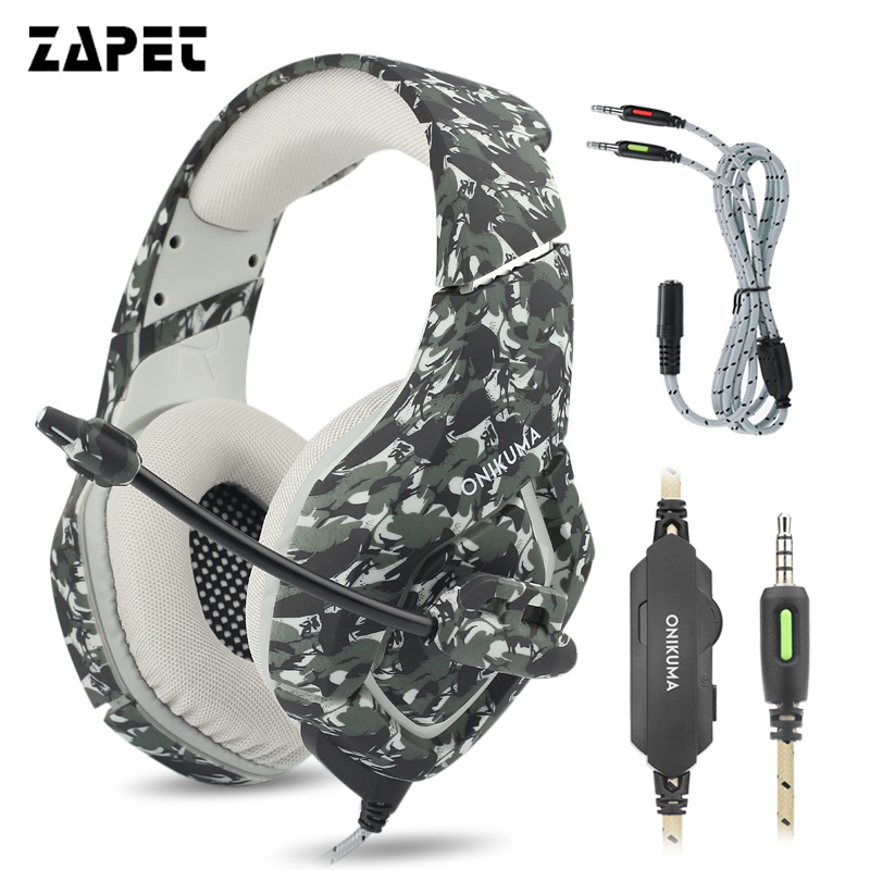 ZAPET Bass Gaming PS4 Headphones Camouflage Computer Game Player Headset with Mic Casque for PC Mobile Phone New Xbox One Tablet 2017 hoco professional wired gaming headset bass stereo game earphone computer headphones with mic for phone computer pc ps4