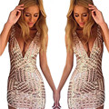 2016 Decote Em V Sexy Vestido Sem Costas Zipper Calças Justas Magro Bodycon Mulheres Vestido Vestido De Festa Lápis Verão Clube Mini Vestido de Lantejoulas