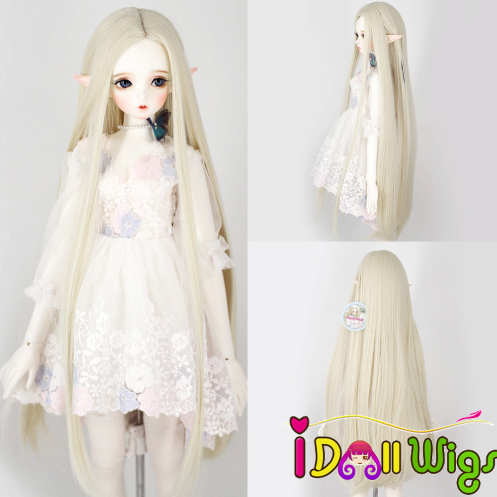 BJD/SD Doll Wigs Size 1/3 1/4 1/6 High-temperature Fiber Long Straight Doll Wig in Off-whiteBJD/SD Doll Wigs Size 1/3 1/4 1/6 High-temperature Fiber Long Straight Doll Wig in Off-white