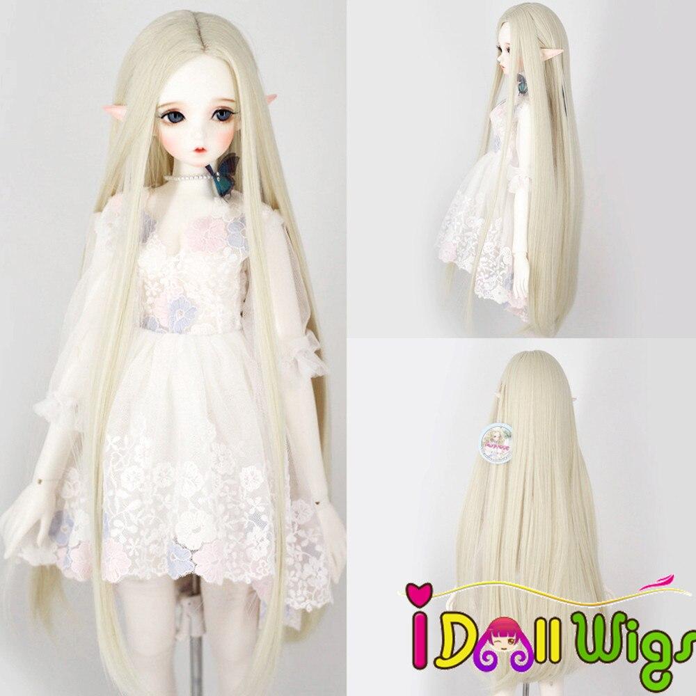 Bjd/sd boneca perucas tamanho 1/3 1/4 1/6 fibra de alta temperatura longa reta boneca peruca em branco