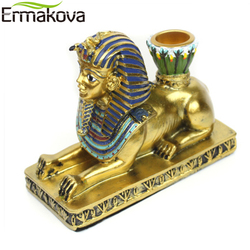 ERMAKOVA Candle Holder Resin Egypt Anubis God Ancient Egyptian Deity Candle Stand Candlestick Home Office Desktop Decoration
